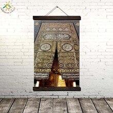 Исламская ДВЕРЬ СВЯТОЙ КААБЫ Современная Wall Art Печать Поп-Арт Плакаты и Принты Scroll Холст