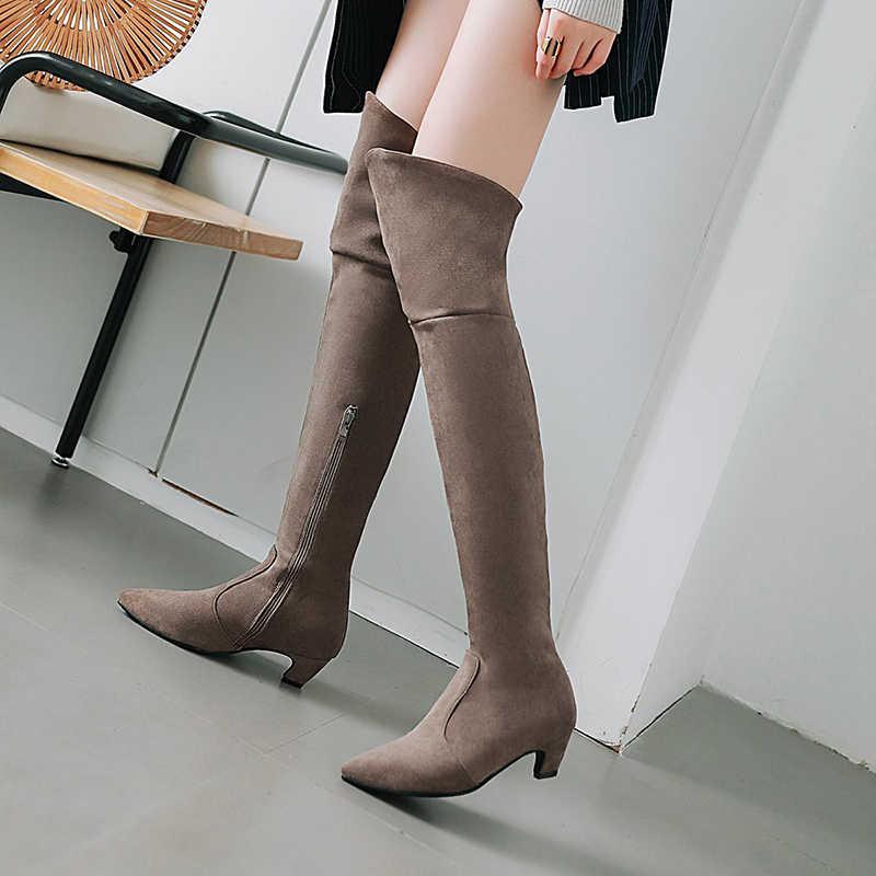 WETKISS Artı Boyutu 34-48 Kalın Topuklar Çizmeler Sivri Burun Ayakkabı Akın Diz Kadın Çizme Streç Ayakkabı kadın 2018 Kış