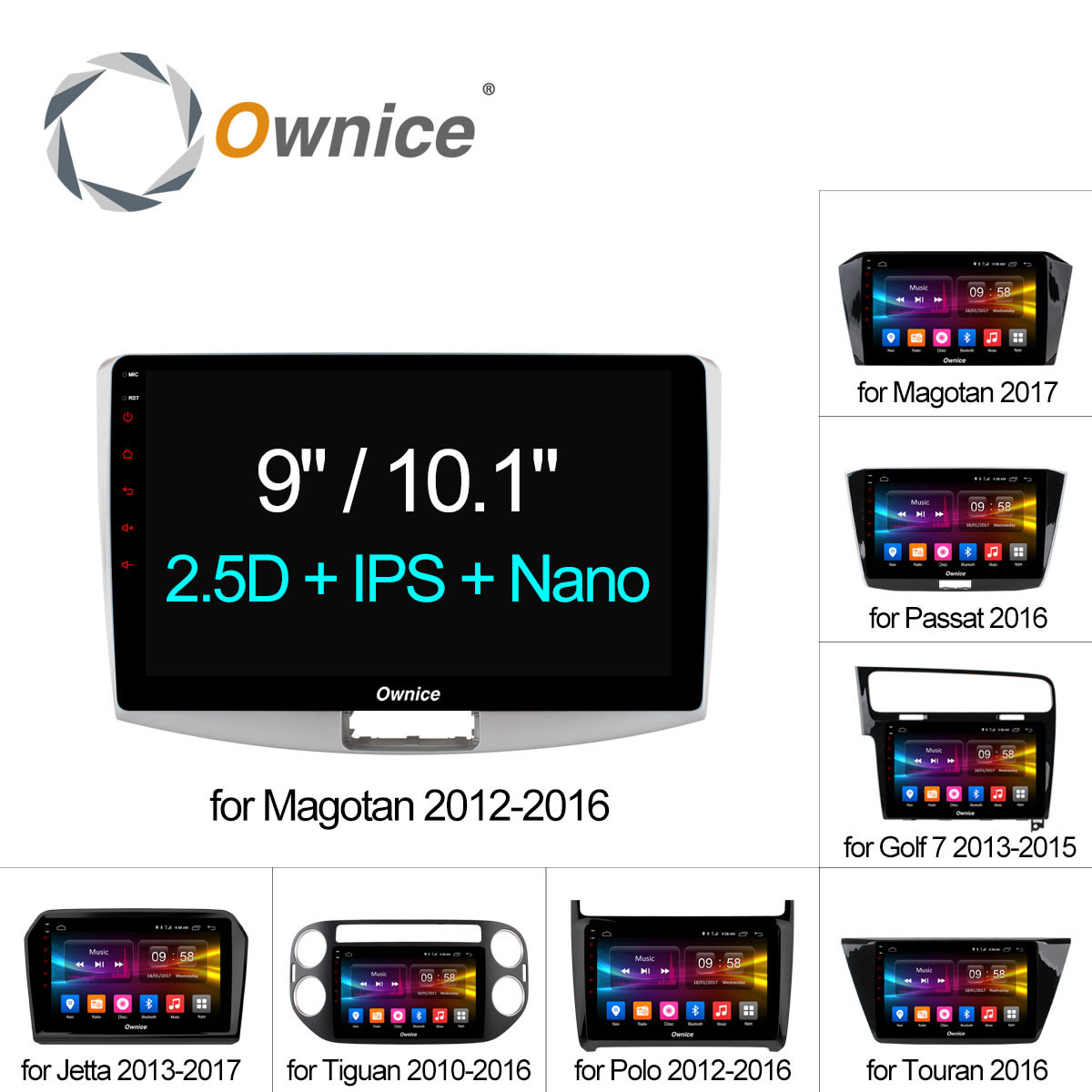 Ownice C500+ Octa Core 10.1/9 Android 6.0 Car Radio DVD player GPS For VW Magotan POLO PASSAT Golf 7/R/GTE Tiguan Touran Jetta junsun 7 2 din car dvd gps radio stereo player for volkswagen vw golf 6 touran passat b7 sharan touran polo tiguan free gift
