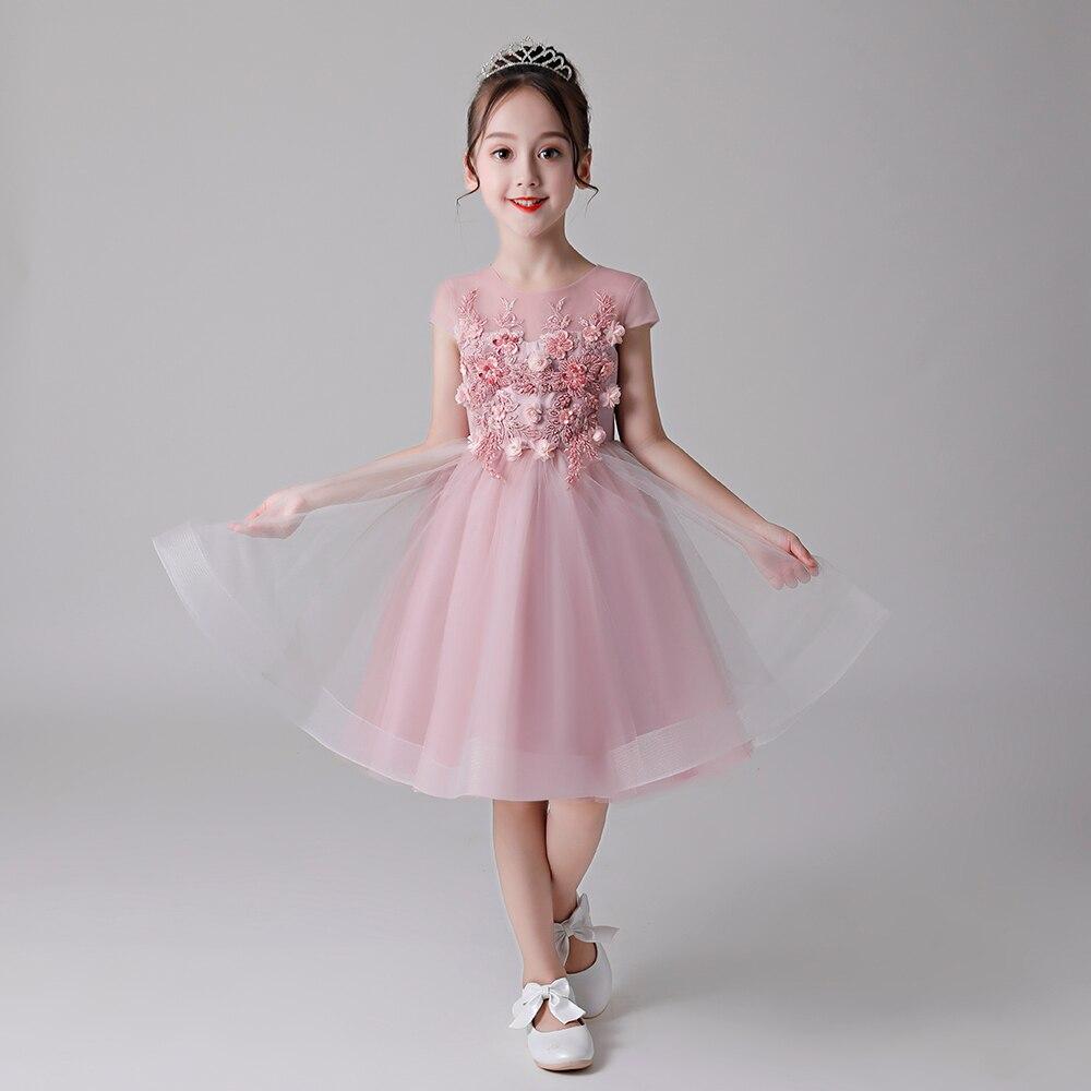 Lovely Flower Girls Dresses for Wedding Kids  Beading Appliqued Pageant Dresses For Girls First Communion Dresses