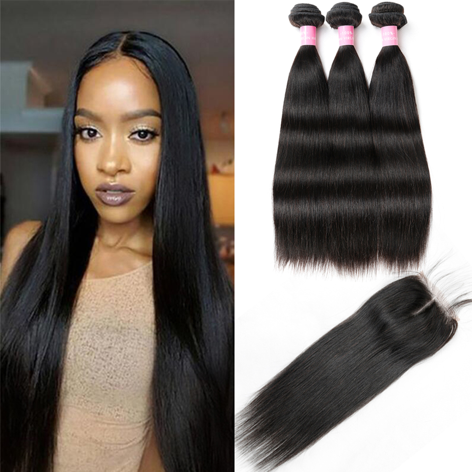 Brazilian Straight Hair Cheap 100 Human Hair Bundles With Closure Middle Part 3 4 Bundles With