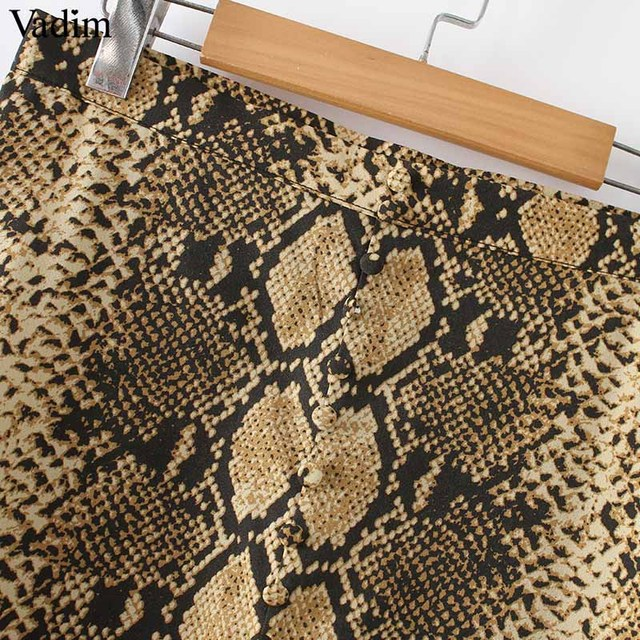 Women elegant snake print midi skirt