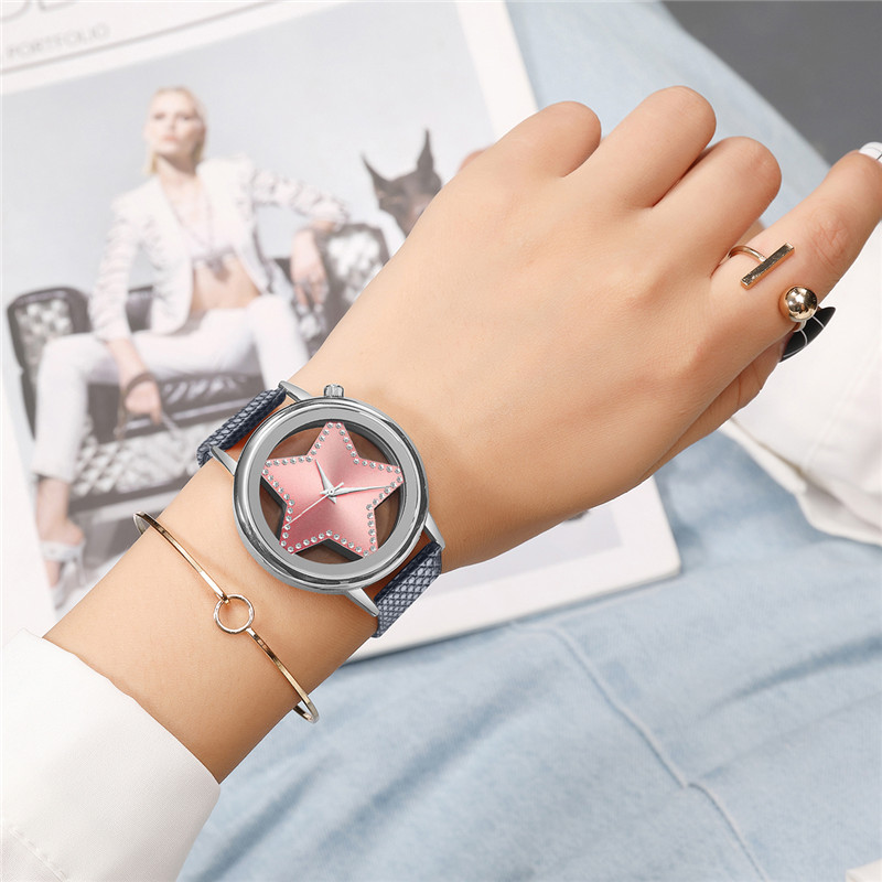 Luxury Brand Quartz Watch Women Creative Hollow Star Dial Ladies Watches Designer Rhinestone Dress Wrist watch Rose Gold Pink 30 diamond stylish watches for girls