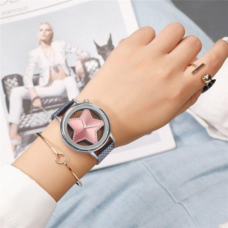 Luxury Brand Quartz Watch Women Creative Hollow Star Dial Ladies Watches Designer Rhinestone Dress Wrist watch Rose Gold Pink 30 1