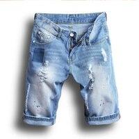 New 2017 Men's Ripped Jeans Shorts Vintage Male Light Blue Punk Summer Distressed Hole Men Patchwork Denim Shorts Plus Size