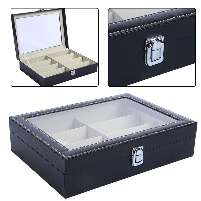Gläser Aufbewahrungsboxen 8 grid sonnenbrille organizer gläser aufbewahrungsbox pu leder