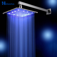 10 Inch 25 CM * 25CM Rain LED Shower Head with Shower Arm .Temperature Control 3 Colors Change Led Showerhead.Led Chuveiro Ducha