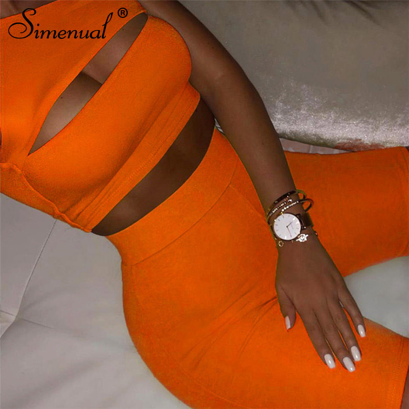 Simenual Neon Color Women Two Piece Set One Shoulder Casual Tracksuits Cut Out Crop Top And Biker Shorts Sets Sporty Active Wear 8