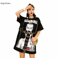 Punk Top Tees White/ Black 2018 Summer Hollow Out T Shirts Oversized eyelet Clothing Special Brand Tops cutout LT393S30