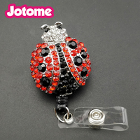 100 pieces free shipping red Crystal beetle shape insert retractable id medical badge holder