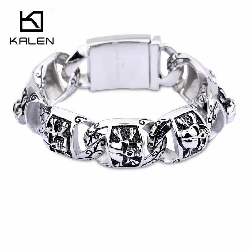 Kalen Viking Schädel Charme Armband Für Männer Edelstahl Skeleton Charme Link Kette Armband & Armreif Männlichen Rock Zubehör