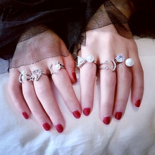 2017 New Fashion Jewelry Cute Romantic Knuckle Rings for Women Girls Personality Charm Moon pearl Anel