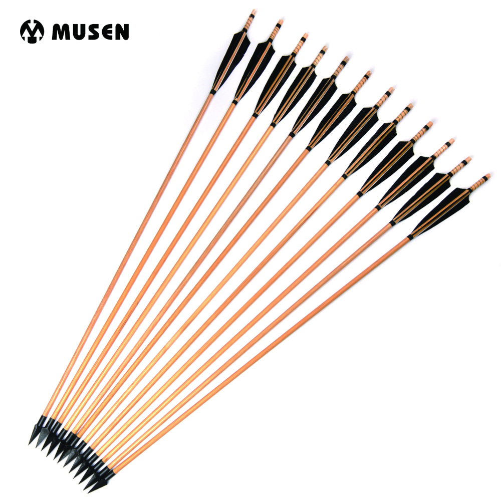 US $28 49 |Spine 500 Wooden Arrows 85cm Length 6/12/24pcs Arrows with Arrow  Heads Turkeys Feather for Recurve Longbow Hunting Shooting-in Bow & Arrow