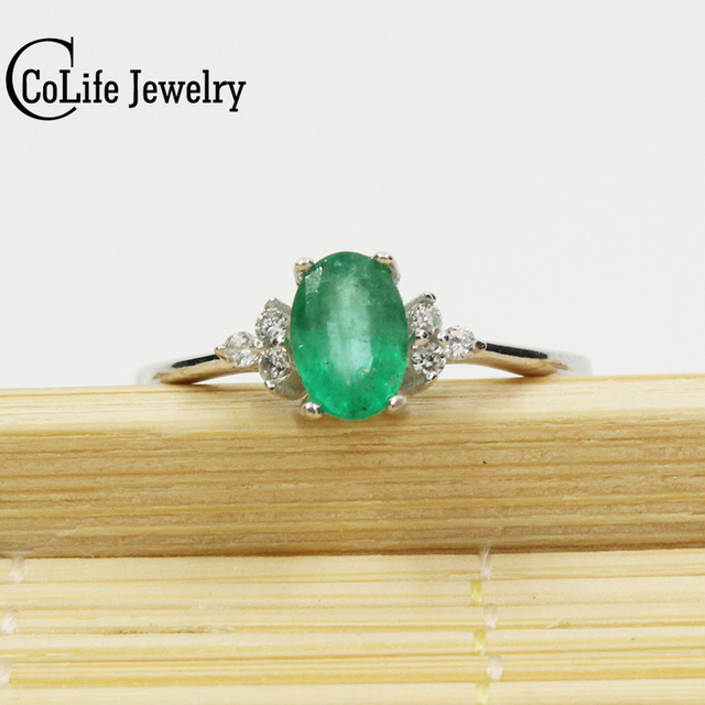 simple design emerald wedding ring for woman 04 ct 4mm6mm natural emerald silver ring - Emerald Wedding Ring