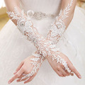 2016 Luxury Ivory Lace Bridal Fingerless Gloves Woman Long Wedding Gloves Crystal Wedding Accessories for Brides