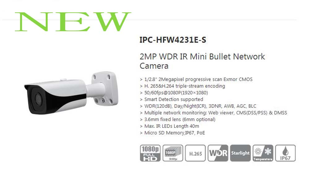 Free Shipping DAHUA NEW Security IP Camera 2MP WDR IR Mini Bullet Network Camera IP67 With POE Without Logo IPC-HFW4231E-S free shipping dahua security ip camera cctv 8mp full hd ir mini bullet network camera ip67 with poe without logo ipc hfw4830e s