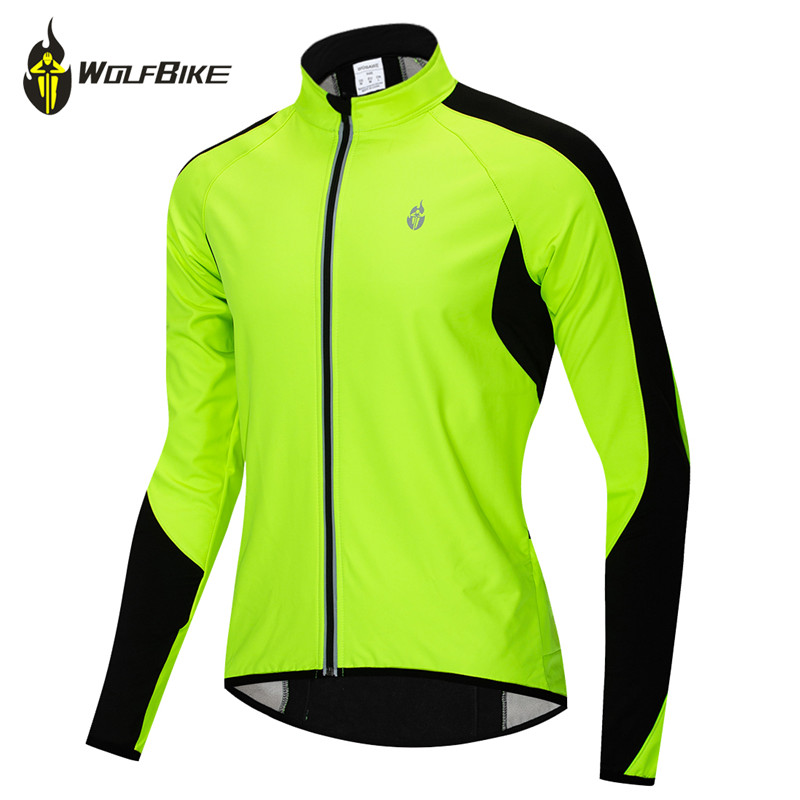 WOLFBIKE Thermal Fleece Cycling Jacket Warm Up Bicycle Clothing Windproof Water Repellent High Visibility Winter MTB Bike Coat