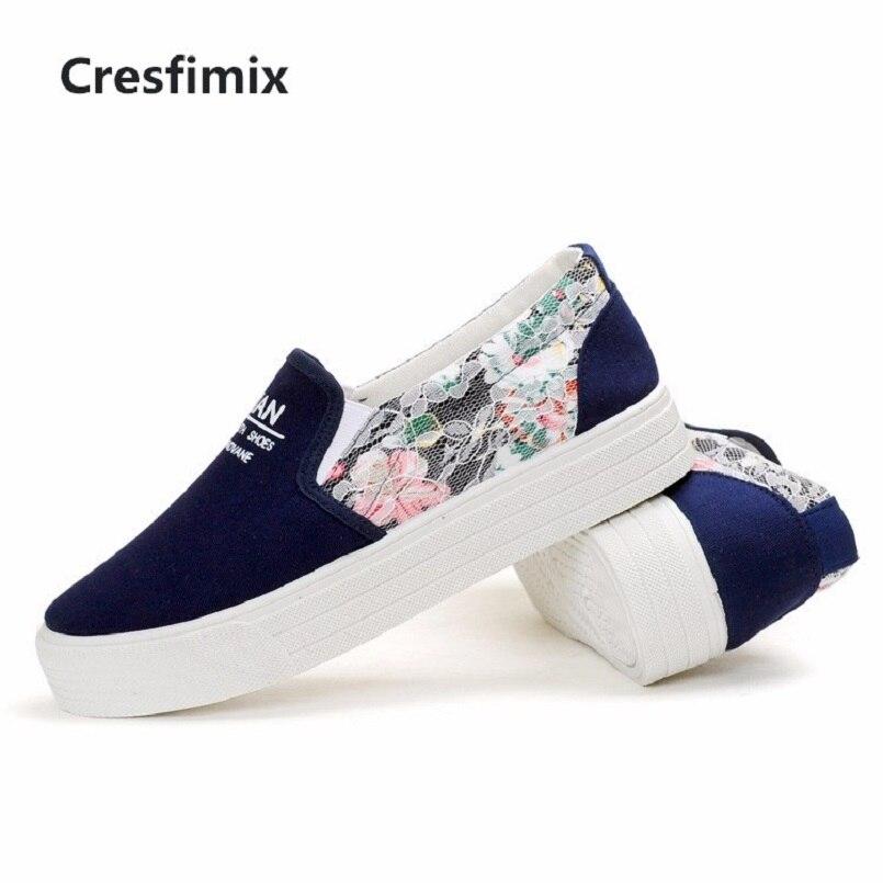Chaussures Zapatos a Mujer forme Toile C Sur Femmes Plat Lady De Mode Cresfimix Floral Noir Plate d Slip C2777 Confortable Casual O4dqERw