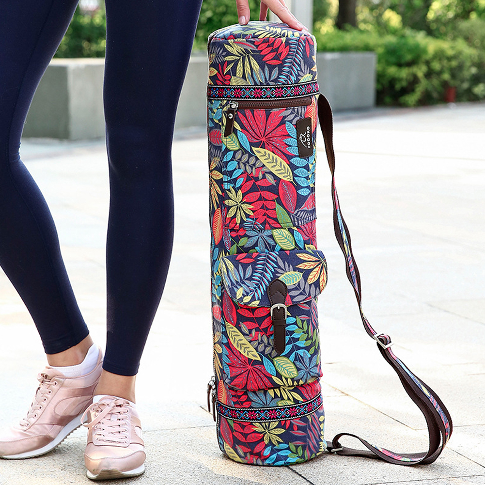 Practical Fitness Casual Pilates Exercise Shoulder Case Yoga Mat Bag Leaves Print Waterproof Portable Carrier Adjustable Strap in Yoga Mats from Sports Entertainment