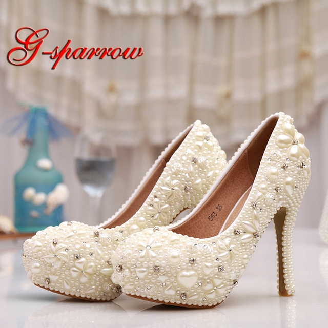 Special Design Ivory Wedding Shoes 4 3 4 Inches Ladies Shoes Women Spring  Farewell Party High Heels Bridesmaid Pumps Plus Size 26d943b59857