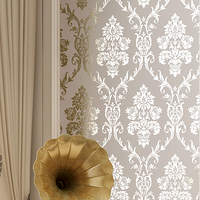 Damask Luxury Metallic Glitter Gold Wallpapers For Living Room Wall Papers Home Decor Wallpaper For Bedroom Walls