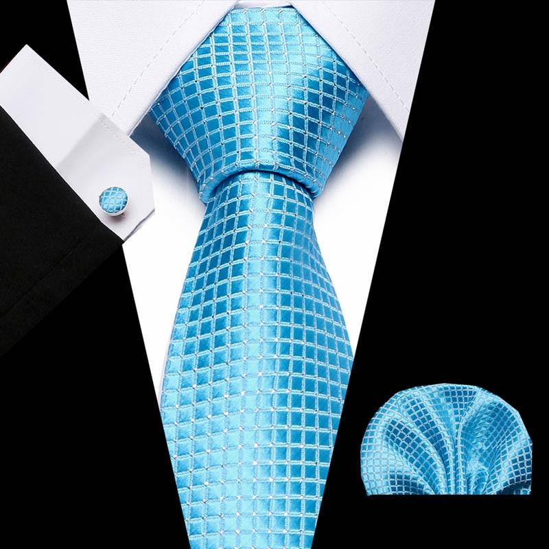 купить!  Мужская Классическая Галстук 100% Шелковый Жаккардовый Тканый 8 СМ Blue Dot (Галстук Хэнки Запонки