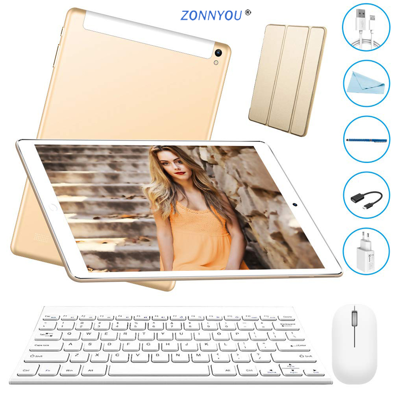 10.1 Inch Tablet 3G Phone Call Tablets Octa Core Android 8.1 Tablet Pc 4GB+64GB WiFi GPS Bluetooth Dual SIM IPS Screen 10.8
