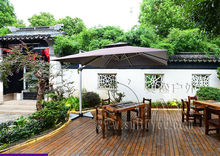 3 meter high quality double roof patio sliver painted hanging umbrella garden parasol sunshade covers wind against (no base)