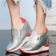 2019 Summer Creepers Tennis Shoes Women Cow Leather Wedges High Heel Sandals Breathable Gladiator Casual Sneakers Trainers