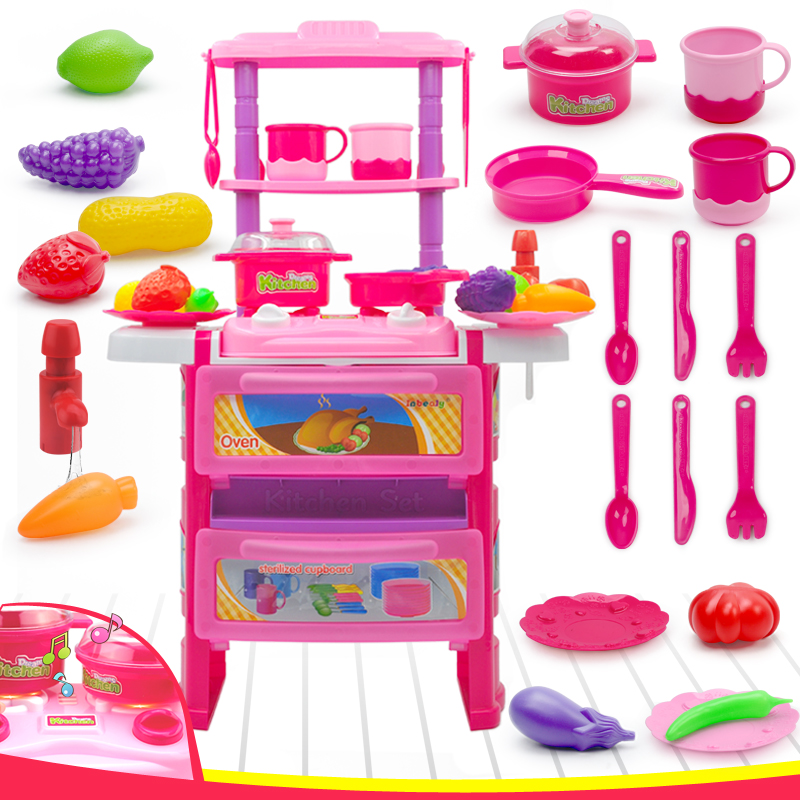 Children Kitchen Cooking Toy With Light Sound Large Simulation Table Model Utensils Toys ...