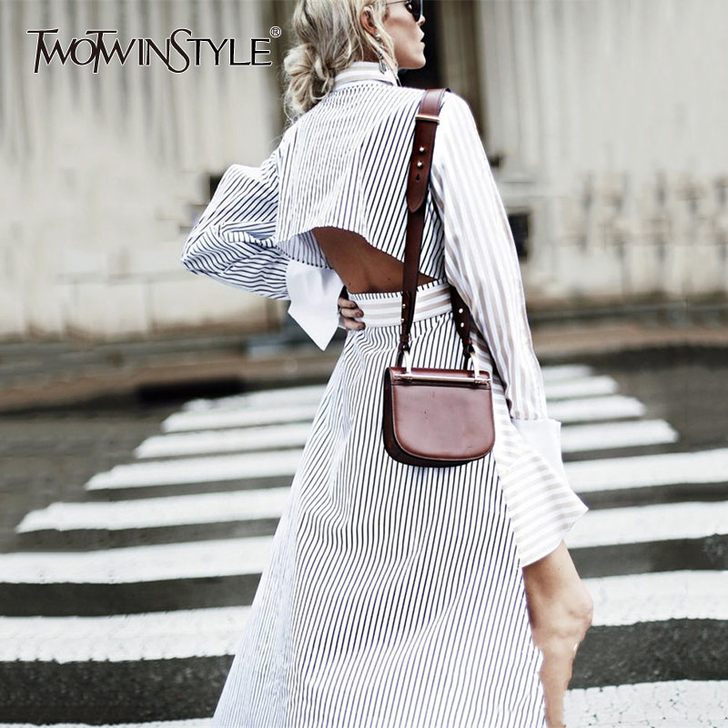 TWOTWINSTYLE Irregular Backless Dress For Women Spring Striped Ruffles Patchwoork Lace Up High Waist Long Sleeve
