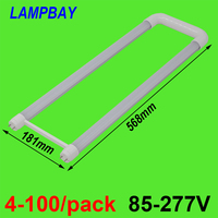 4 100/pack U shaped T8 LED Tube Light 2ft 20W G13 Bi pin Bar Lamp U Bend Retrofit Bulb For Fluorescent Ceiling Fixture Lighting