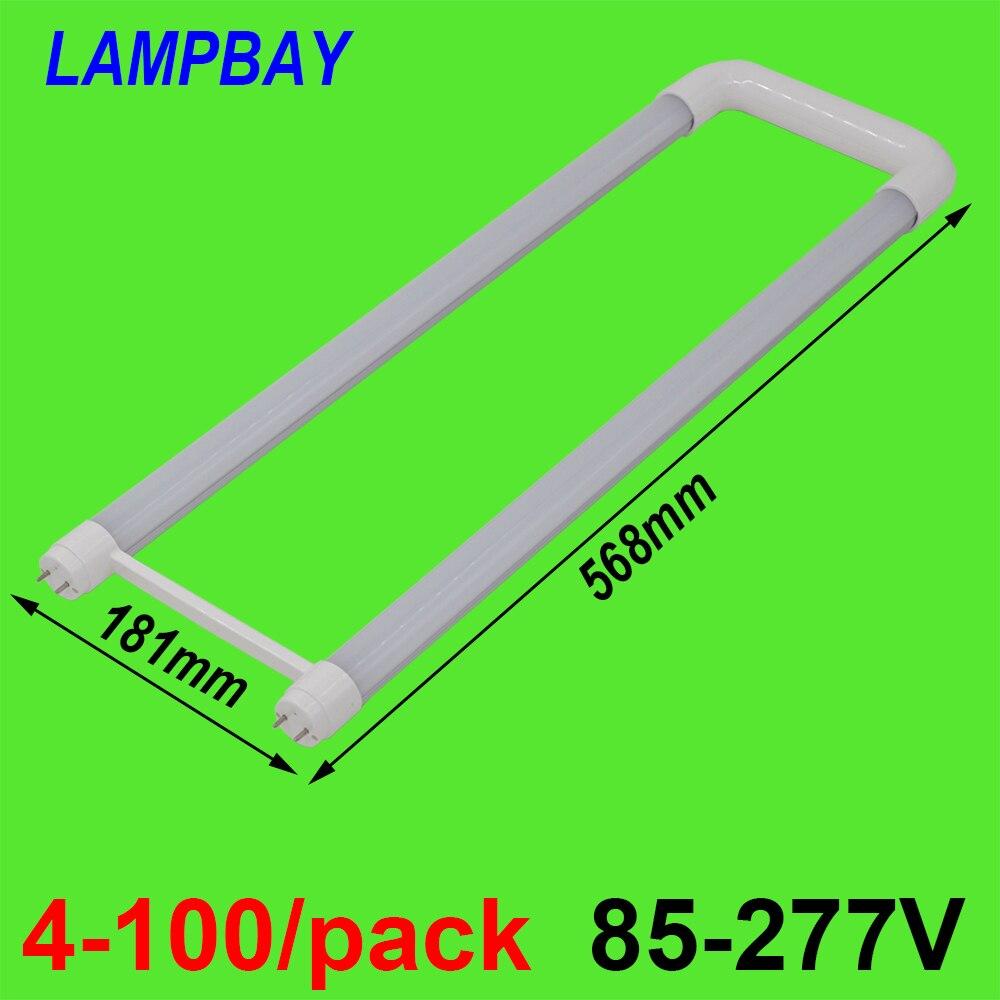 4-100/paquet en forme de U T8 LED Tube lumière 2ft 20 W G13 bi-pin Bar lampe U courbure ampoule de modification pour éclairage de plafond Fluorescent