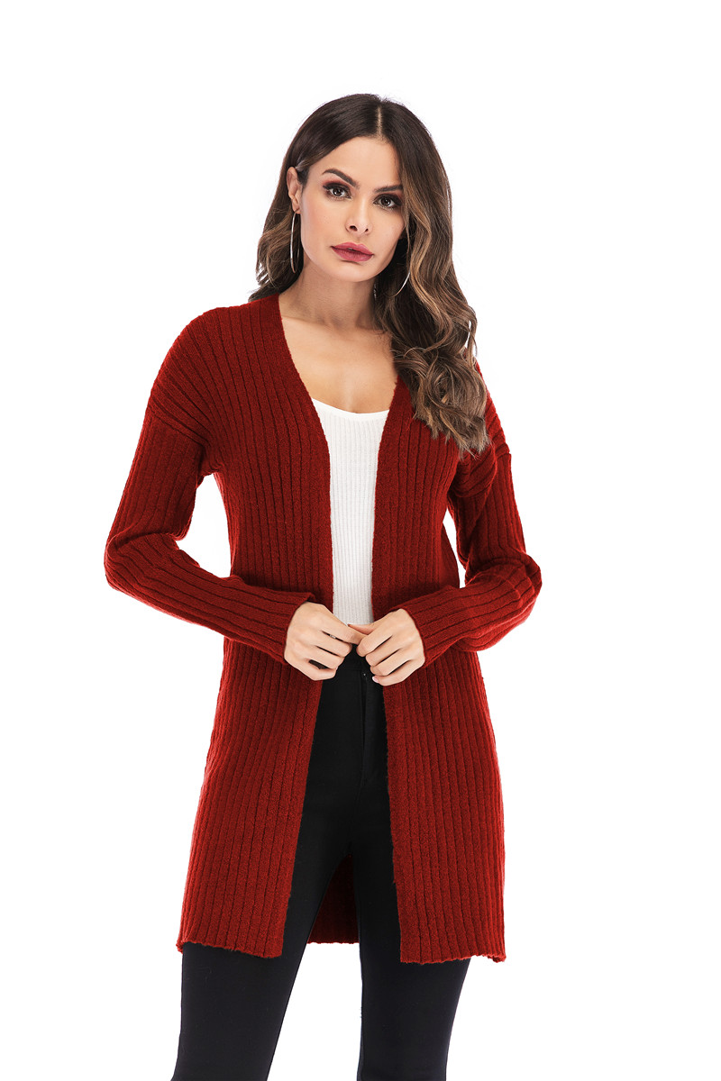 Fall Winter Cute Knitted Middle Long Ribbed Cardigan Dress for Women Kawaii Ladies Knit Drop Shoulder Sweater Coat Oversized S-L 13