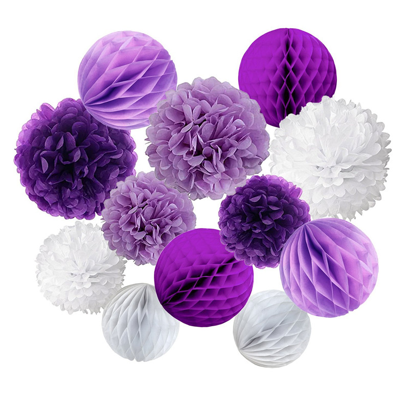 12Pcs Violet Purple White Tissue Paper Pompoms Honeycomb Balls ForParty Wedding Baby Shower Bridal Shower Festival Decorations