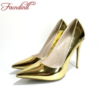 FACNDINLL Shoes Quality Sexy High Heel Gold Party Wedding Shoes 2017 Women Pumps Classic Pointed Toe