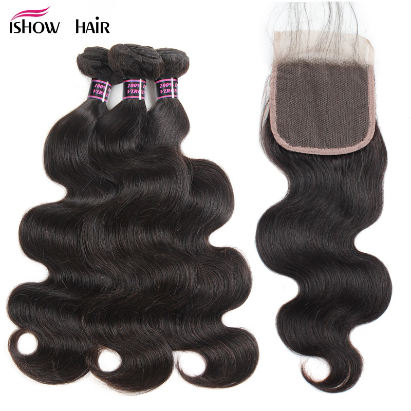 Ishow Body Wave Bundles With Closure 100% Human Hair Bundles With Closure 3 Bundles Brazilian Hair Weave Bundles With Closure