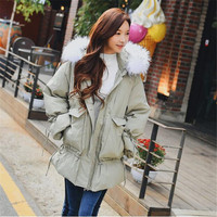 Dabuwawa Hooded Fur Collar Down Coat Winter Women 2018 Preppy Style Zippers Front Pocket Pleated Fashion Thick Down Jacket