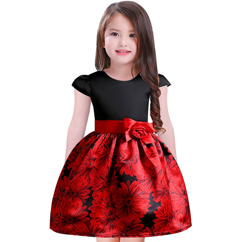 Baby Girls Spring Autumn Sashes Clothes Short Sleeve Wholesale Children Floral Appliques Clothing Flower Princess Dress 7pcs/LOT