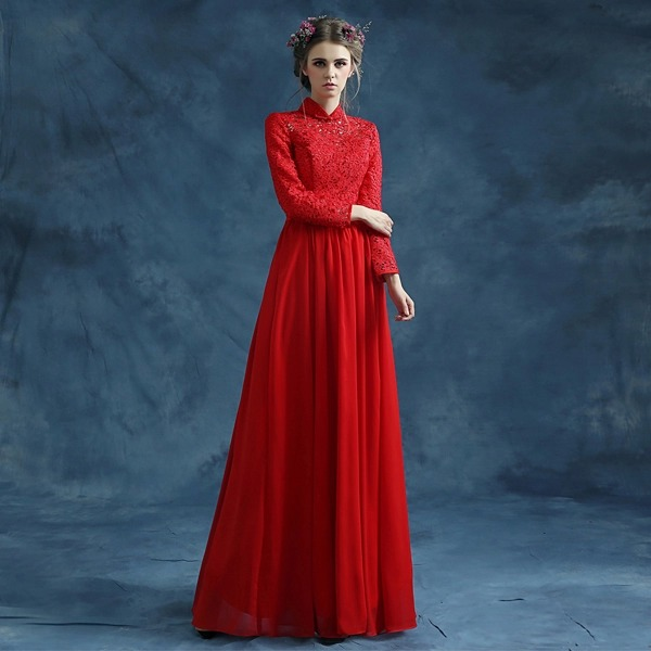 red long sleeve lace xxxl long chinese dress wedding cheongsam chiffon a line  elegant long sleeve evening dresses chinese dress-in Cheongsams from Novelty  ... 8301443aed50