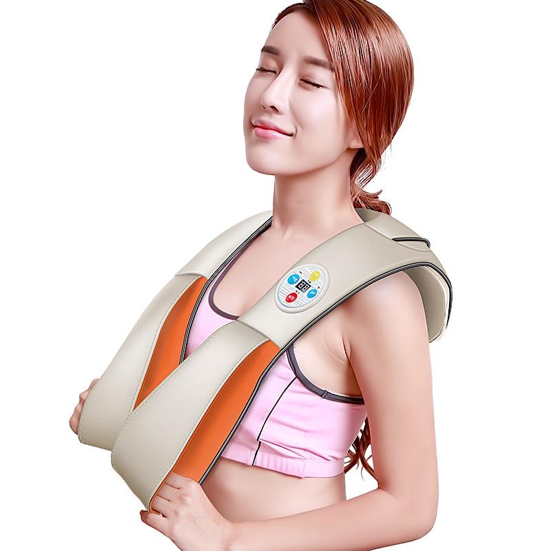 komwell U Shape Electrical Shiatsu Back Neck Shoulder Body Massager Infrared Heated Kneading Car/Home Massagem 3D Body massage массажная накидка wellneo 3d full body shiatsu