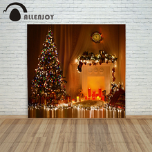 background photo christmas photography Retro Fireplace tree light candle xmas vinyl color vintage fond Computer print