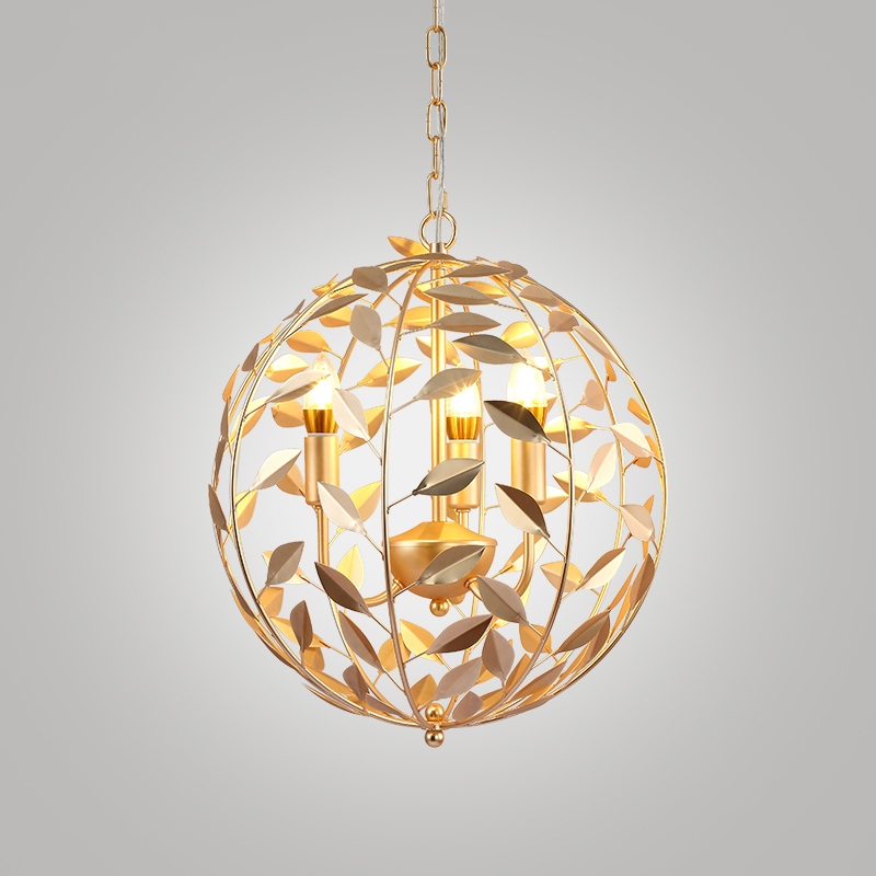 Nordic Post-modern Gold leaf ball chandelier LED post-modern simple living room lighting creative personality BedroomRestaurant european restaurant crystal chandelier simple ball bedroom modern simple led creative living room lighting dining room