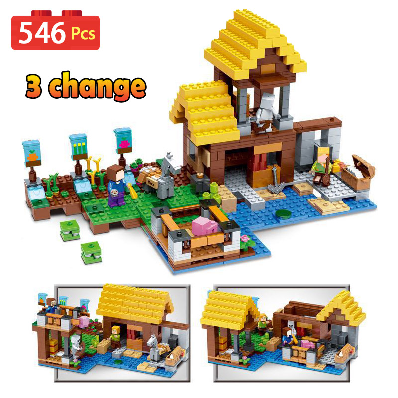 My World Series Building Blocks Kit Compatible LegoINGLYS Minecrafted The Farm Cottage Technic Model Children Toys my world tree house brick scene series steve mini blocks model building blocks kit toys for children compatible 21125
