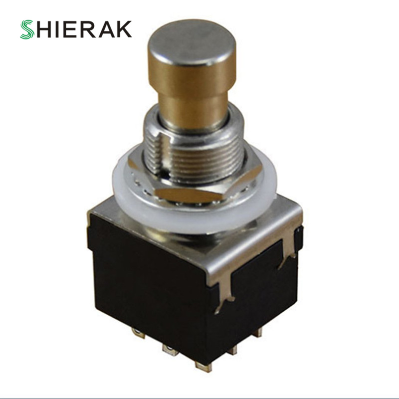 SHIERAK Metal 3PDT Guitar Effects Pedal Push Button Switch Latching Stomp Accessory 1 x 16mm od led ring illuminated latching push button switch 2no 2nc