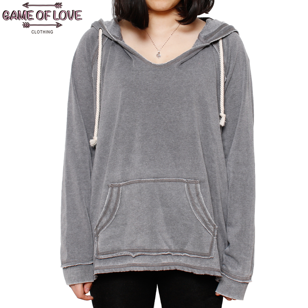 Game Of Love Women's Snowwashed <font><b>French</b></font> <font><b>Terry</b></font> <font><b>Hoodie</b></font> Pullover Sweatshirts With Kangaroo Pocket And Self Draw Cord