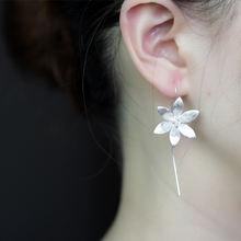 Женские длинные серьги подвески «цветок лотоса» из серебра 925