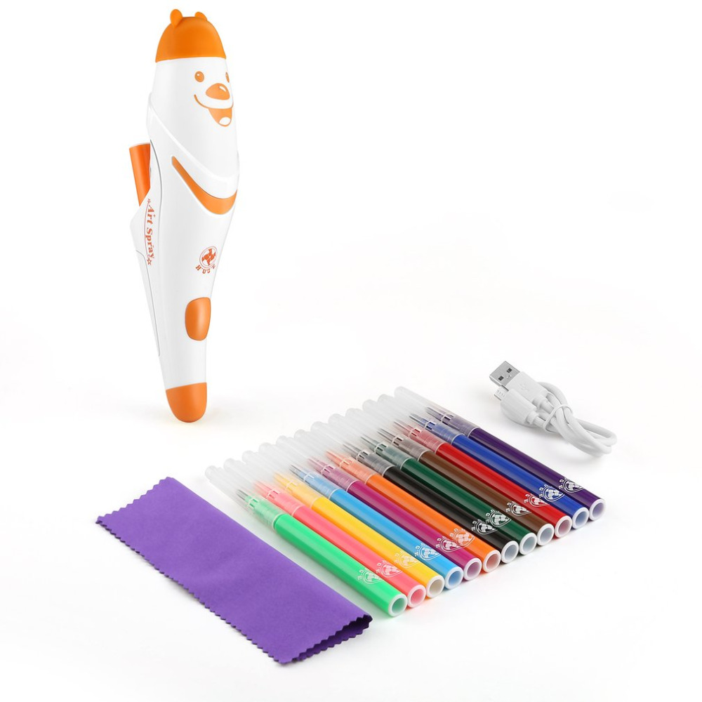 Electric Spray Art Pen Airbrush Marker Set Watercolor Paint Pen Magic Pen Coloured Markers Childrens Kids Toy Gift