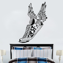 Art  Wall Sticker Sports Shoe Winged First Running Fly Decoration Vinyl Art Removeable Poster MOdern Mural Jogging Decal LY162 sports art art e875