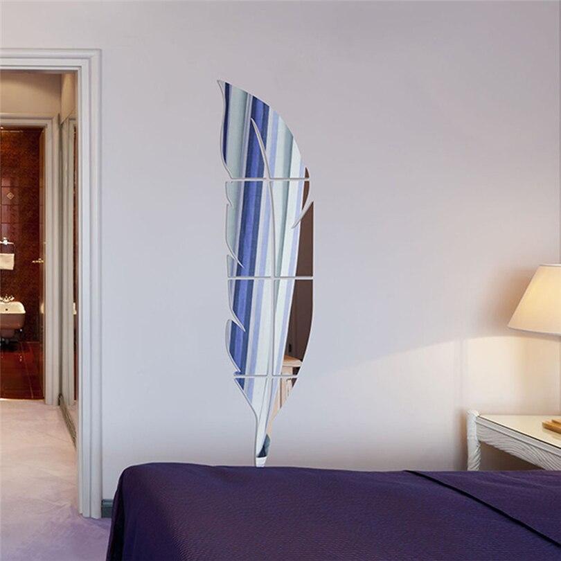 plstico pluma de acrlico decoracin diy etiqueta de la pared sin marco espejos decorativos de la